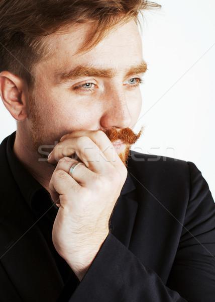 Jóvenes hombre barba bigote traje negro Foto stock © iordani