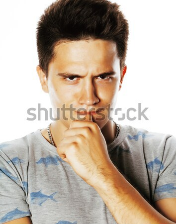 young handsome brunete man emotional posing on white background  Stock photo © iordani