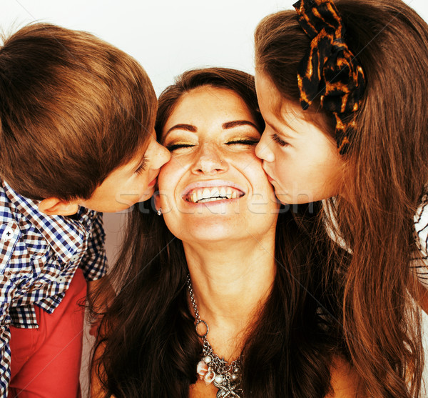 two pretty children kissing their mother close up, happy family, brother and sister, lifestyle peopl Stock photo © iordani