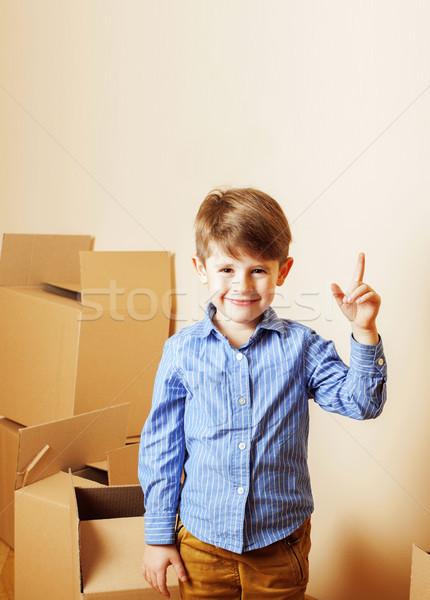 Kicsi aranyos fiú üres szoba új ház otthon Stock fotó © iordani