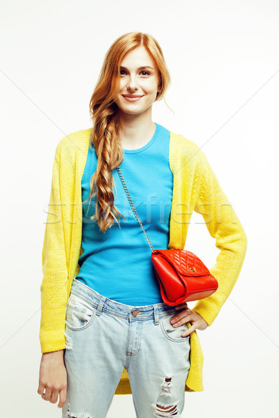 young pretty red hair woman happy smiling isolated on white background, lifestyle people concept Stock photo © iordani