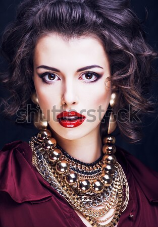 young sexy woman with leopard make up all over body, cat bodyart Stock photo © iordani