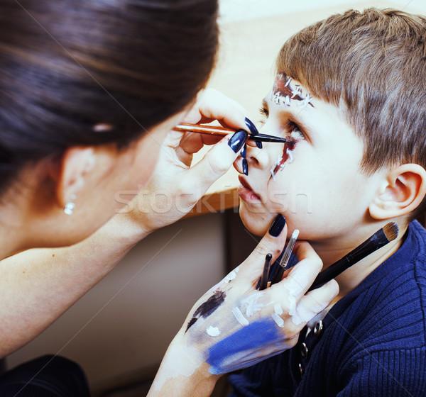 little cute child making facepaint on birthday party, zombie Apo Stock photo © iordani