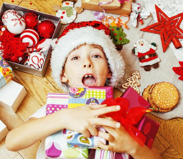 мало Cute Kid красный Hat ручной работы Сток-фото © iordani