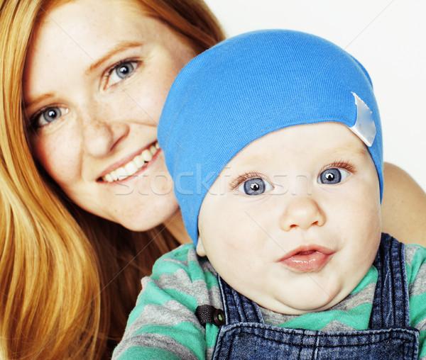 молодые красоту матери Cute ребенка красный Сток-фото © iordani