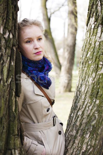 Jonge mooie blond vrouw glimlachen gelukkig buiten Stockfoto © iordani