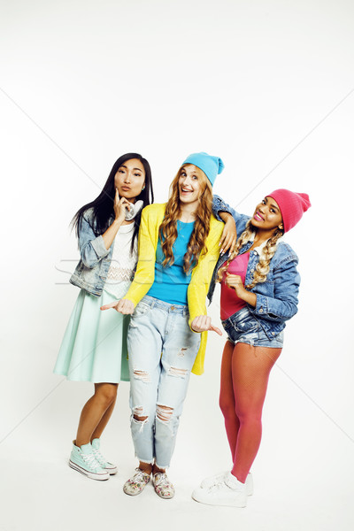 diverse nation girls group, teenage friends company cheerful having fun, happy smiling, cute posing  Stock photo © iordani