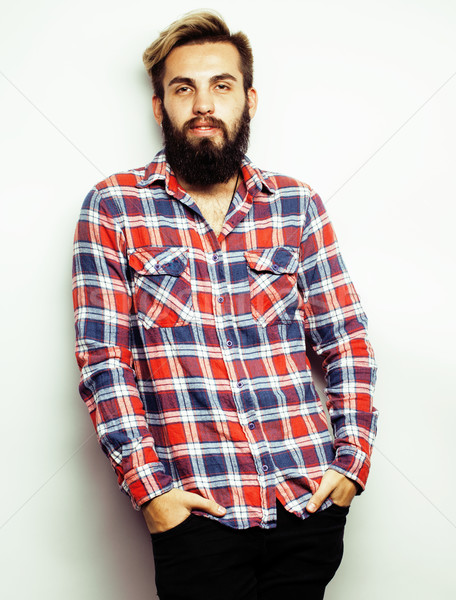 young handsome hipster ginger bearded guy looking brutal isolated on white background, lifestyle peo Stock photo © iordani