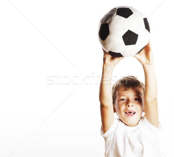 Сток-фото: мало · Cute · мальчика · играет · футбола · мяча