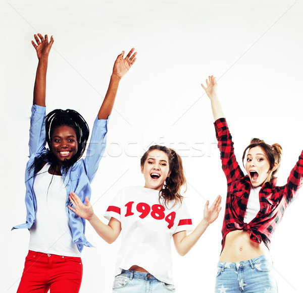 diverse multi nation girls group, teenage friends company cheerful having fun, happy smiling, cute p Stock photo © iordani
