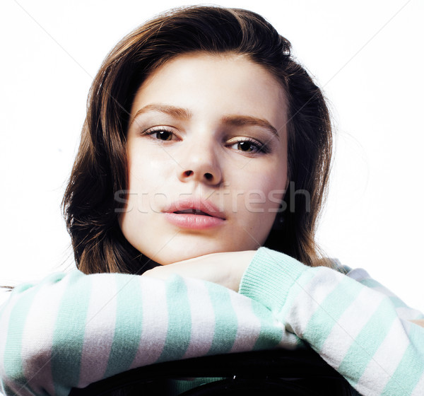 Stock photo: Real Teenage Girl Looking Worried isolated on white background