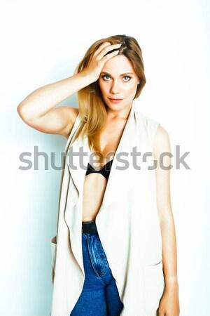 Młodych dość pani dziewczyna stwarzające wesoły Zdjęcia stock © iordani