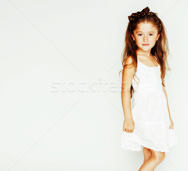 little cute spring girl with lily flower in fancy dress isolated Stock photo © iordani