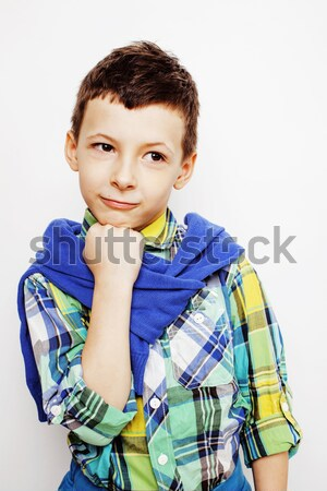 young pretty little boy kid wondering, posing emotional face isolated on white background, gesture h Stock photo © iordani