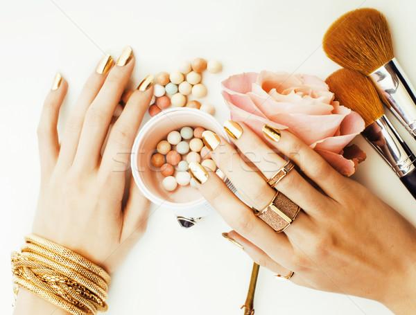 Stock fotó: Nő · kezek · arany · manikűr · sok · gyűrűk