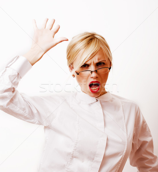 very emotional businesswoman in glasses, blond hair on white bac Stock photo © iordani
