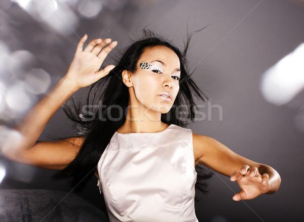 fashion portrait beauty ice lady splashes of light in studio, cr Stock photo © iordani