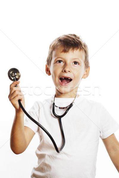 Küçük sevimli erkek stetoskop oynama gibi Stok fotoğraf © iordani