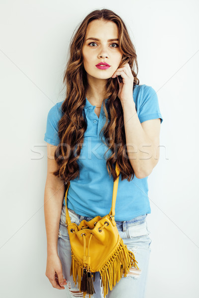 Сток-фото: молодые · довольно · длинные · волосы · женщину · счастливым · улыбаясь