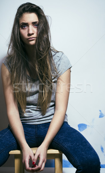 problem depressioned teenage with messed hair and sad face, junk Stock photo © iordani