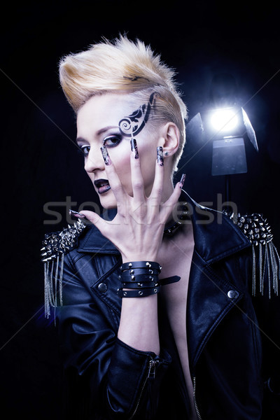 Fashion Rocker Style Model Girl Portrait. Hairstyle. Rocker or Punk Woman Makeup, Hairdo and black N Stock photo © iordani