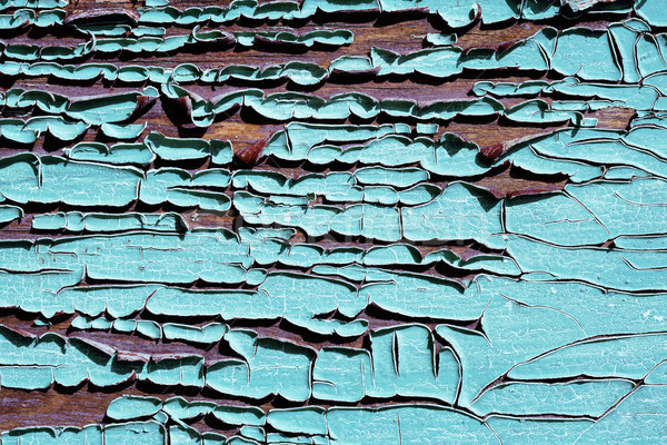 texture of old cracked wood painted blue Stock photo © iordani
