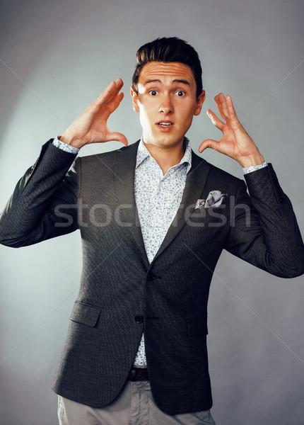 Jeunes joli homme d'affaires permanent blanche modernes Photo stock © iordani
