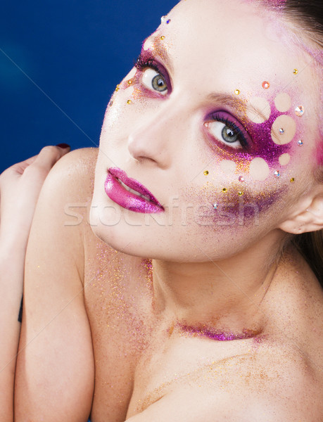 beauty young woman with creative make up, mystery tinsel Stock photo © iordani