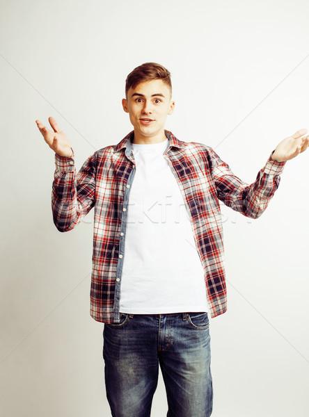 Fiatal jóképű tini hipszter fickó pózol Stock fotó © iordani
