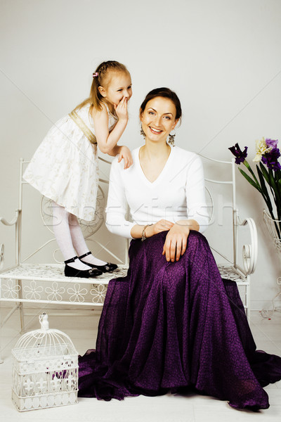 young mother with daughter at luxury home interior vintage Stock photo © iordani
