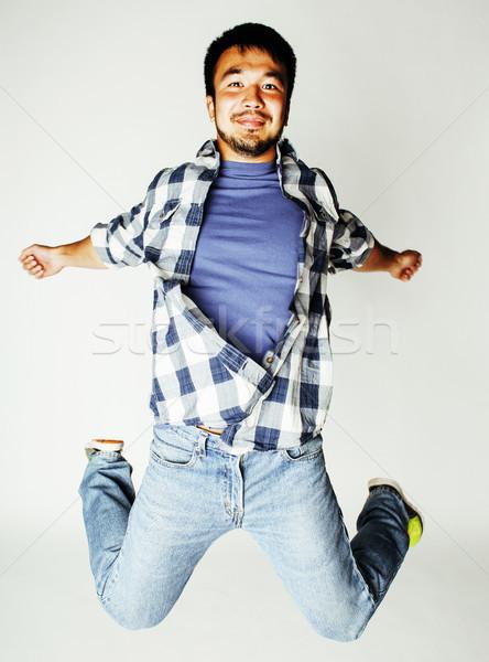 Stockfoto: Jonge · mooie · asian · man · springen · vrolijk