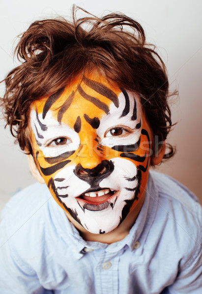 little cute boy with faceart on birthday party close up, little  Stock photo © iordani