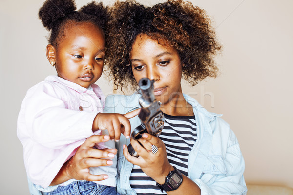 adorable sweet young afro-american mother with cute little daugh Stock photo © iordani