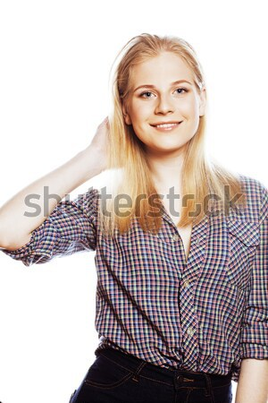 young blond woman on white backgroung gesture smiling, isolated Stock photo © iordani