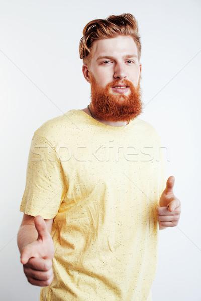 ストックフォト: 小さな · ハンサム · ヒップスター · あごひげを生やした · 男 · 見える