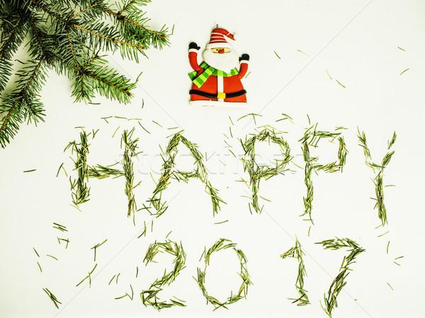 Feliz año nuevo diseno blanco pino papá noel tarjeta de felicitación Foto stock © iordani