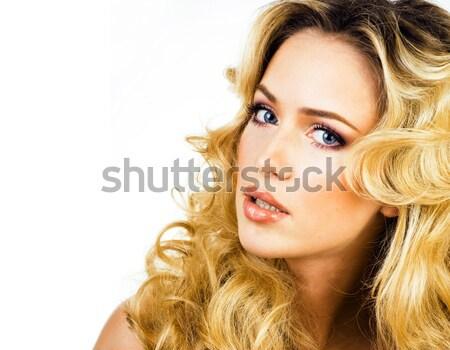 Szépség szőke nő hosszú göndör haj közelkép Stock fotó © iordani