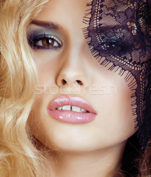 portrait of beauty young woman through lace close up mistery makeup sexy, fashion people concept Stock photo © iordani