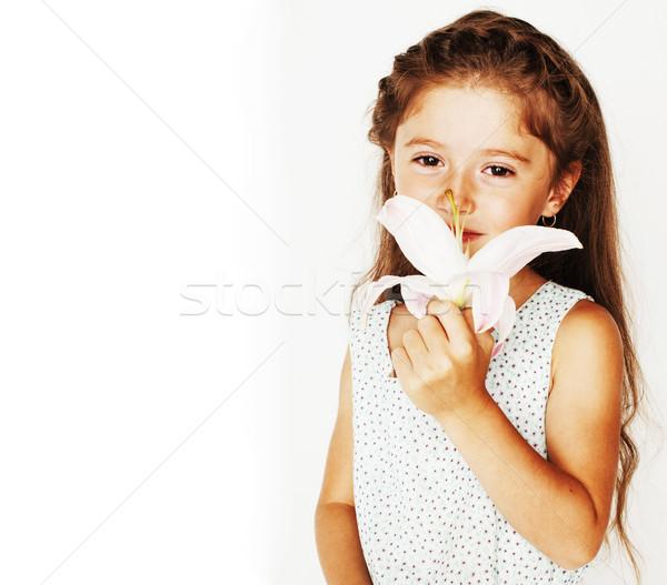 Weinig cute voorjaar meisje kostuum geïsoleerd Stockfoto © iordani