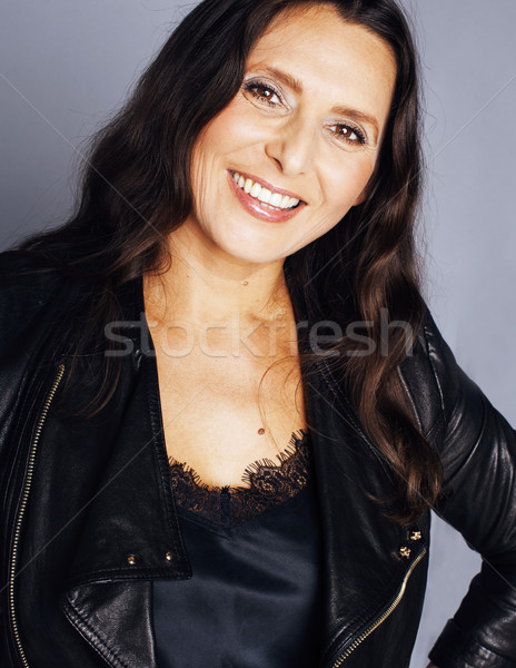 mature brunette real middle age woman well dressed posing happy smiling, lifestyle people concept Stock photo © iordani