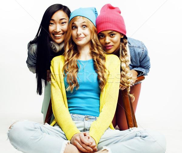 Nation filles groupe adolescent amis Photo stock © iordani