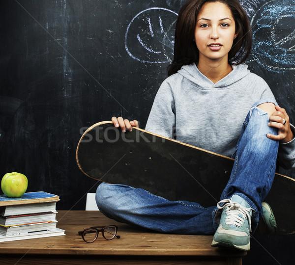 Fiatal aranyos tinilány osztályterem iskolatábla asztal Stock fotó © iordani