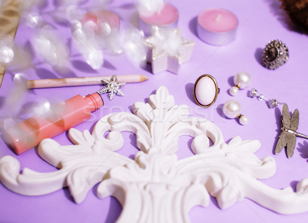 Jewelry table with lot of girl stuff on it, little mess in cosmetic brushes, women interior concept, Stock photo © iordani