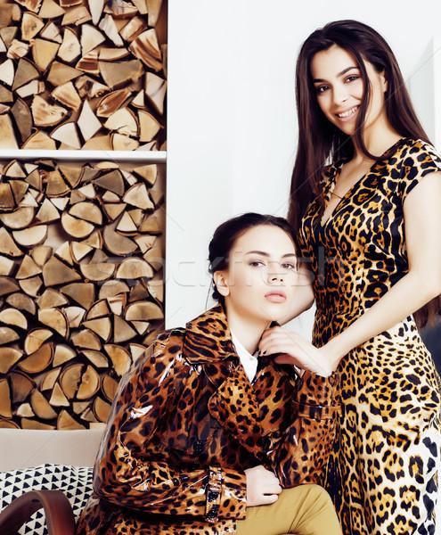 Csinos elegáns nő divat ruha leopárd Stock fotó © iordani