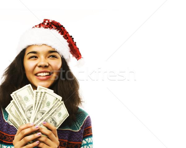 かわいい 若い女の子 赤 帽子 お金 孤立した ストックフォト © iordani