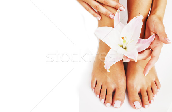 Manicure pedicure bloem lelie geïsoleerd Stockfoto © iordani