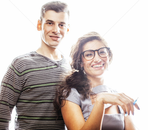 love affair at work, young pretty couple, man and woman together Stock photo © iordani