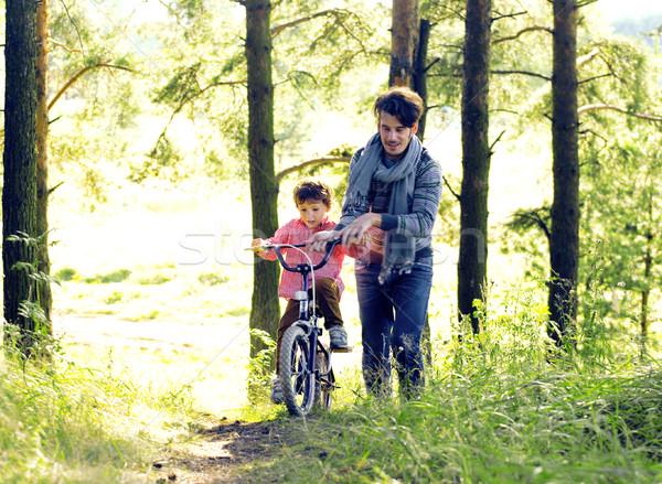 отец обучения сын велосипед за пределами реальный Сток-фото © iordani