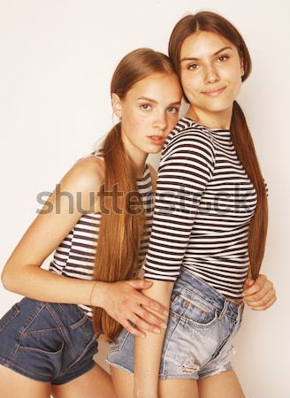 Young couple together making love, hugging. guy with tattoo, gir Stock photo © iordani