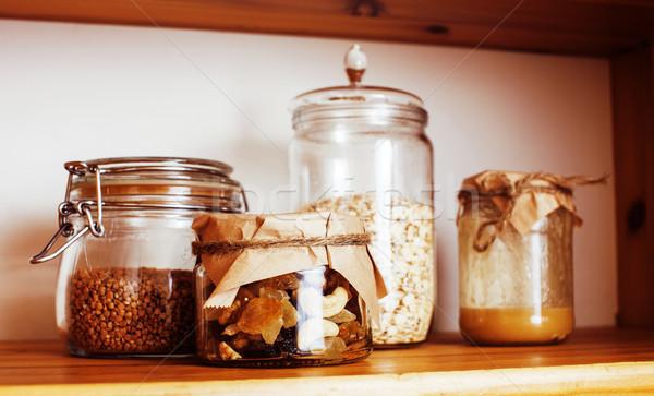 реальный комфорт кухне завтрак Ингредиенты Сток-фото © iordani